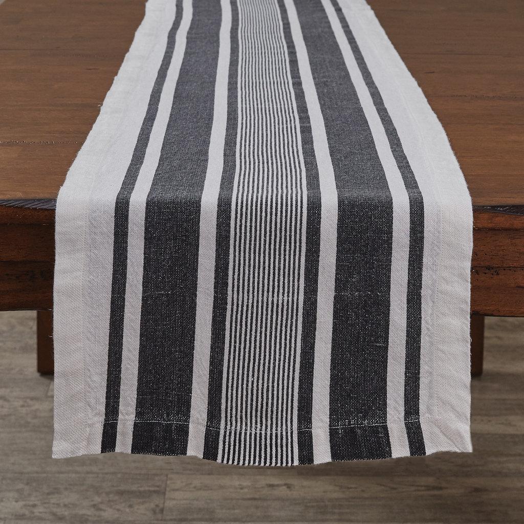 """Split P 60""""L Bleach And Black Stripe Linen Table Runner"""
