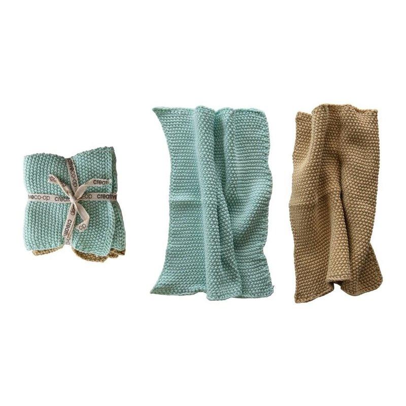 "Creative Coop 10.5"" Square Cotton Knit Dish Cloths, 2 Colors, Set of 2"