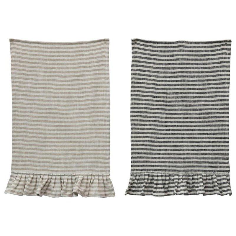 Creative Coop Cotton Striped Tea Towel W/Ruffle