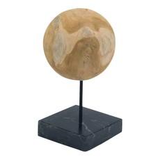 Moe's Home Round Teak Ball on Black Marble Base