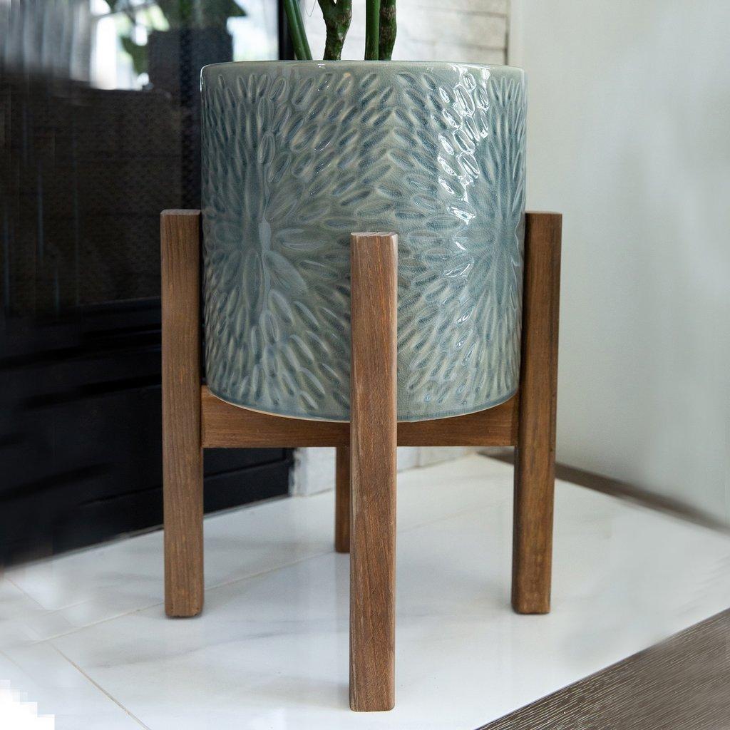 Faire Sunburst Ceramic Planter On Wood Stand - Large