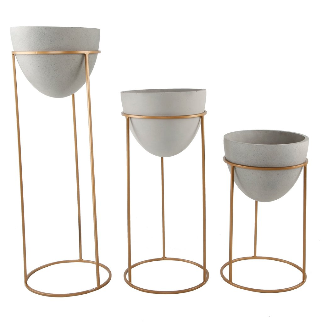 Faire Matte White Ceramic Pot on Gold Stand - Large
