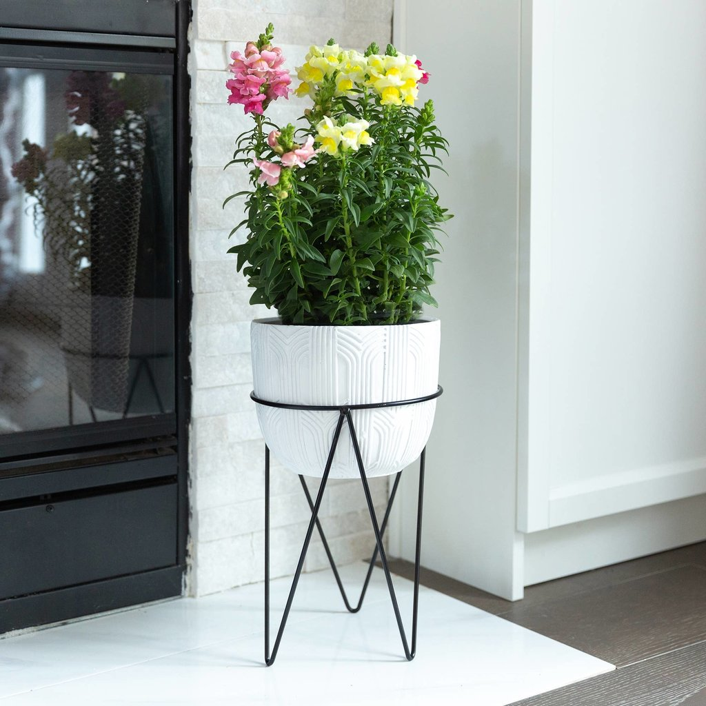 Faire Cement Planter On Metal Stand