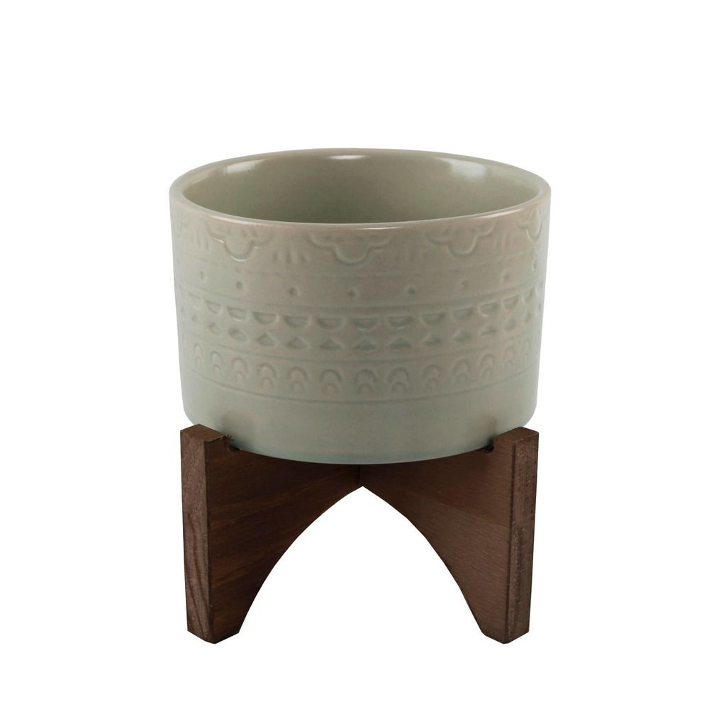 """Faire 5"""" Mayan Ceramic Planter On Wood Stand"""
