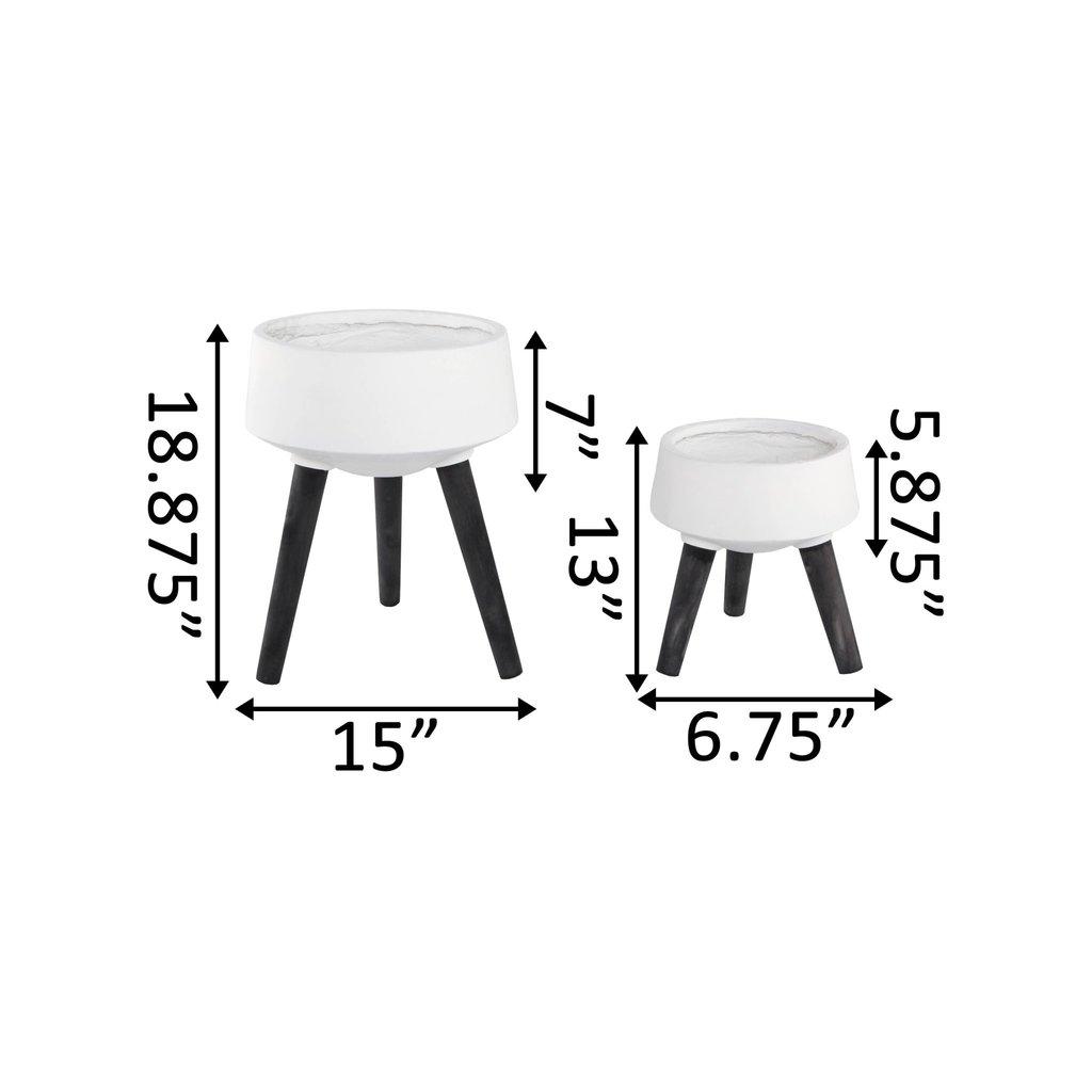 Faire Fiberglass Pot On Legs - Black - Large