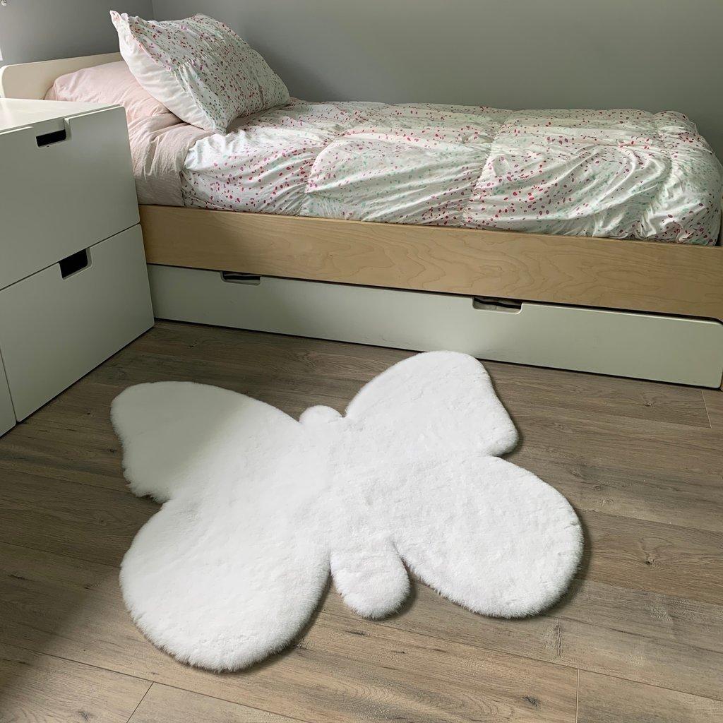 Kroma Carpets Faux Rabbit Fur Butterfly Area Rug