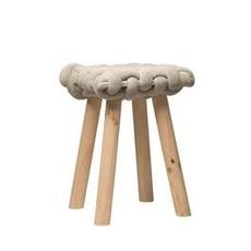 Bloomingville Woven Stool w/ Wood Legs, Grey