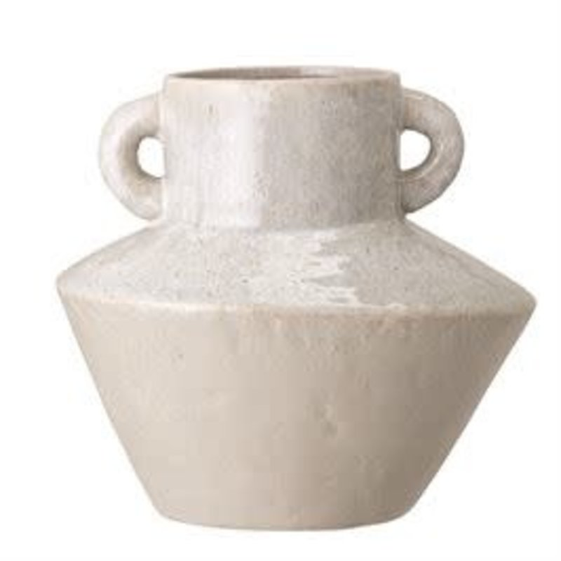 Bloomingville Stoneware Vase w/ Handles, Reactive Glaze, White