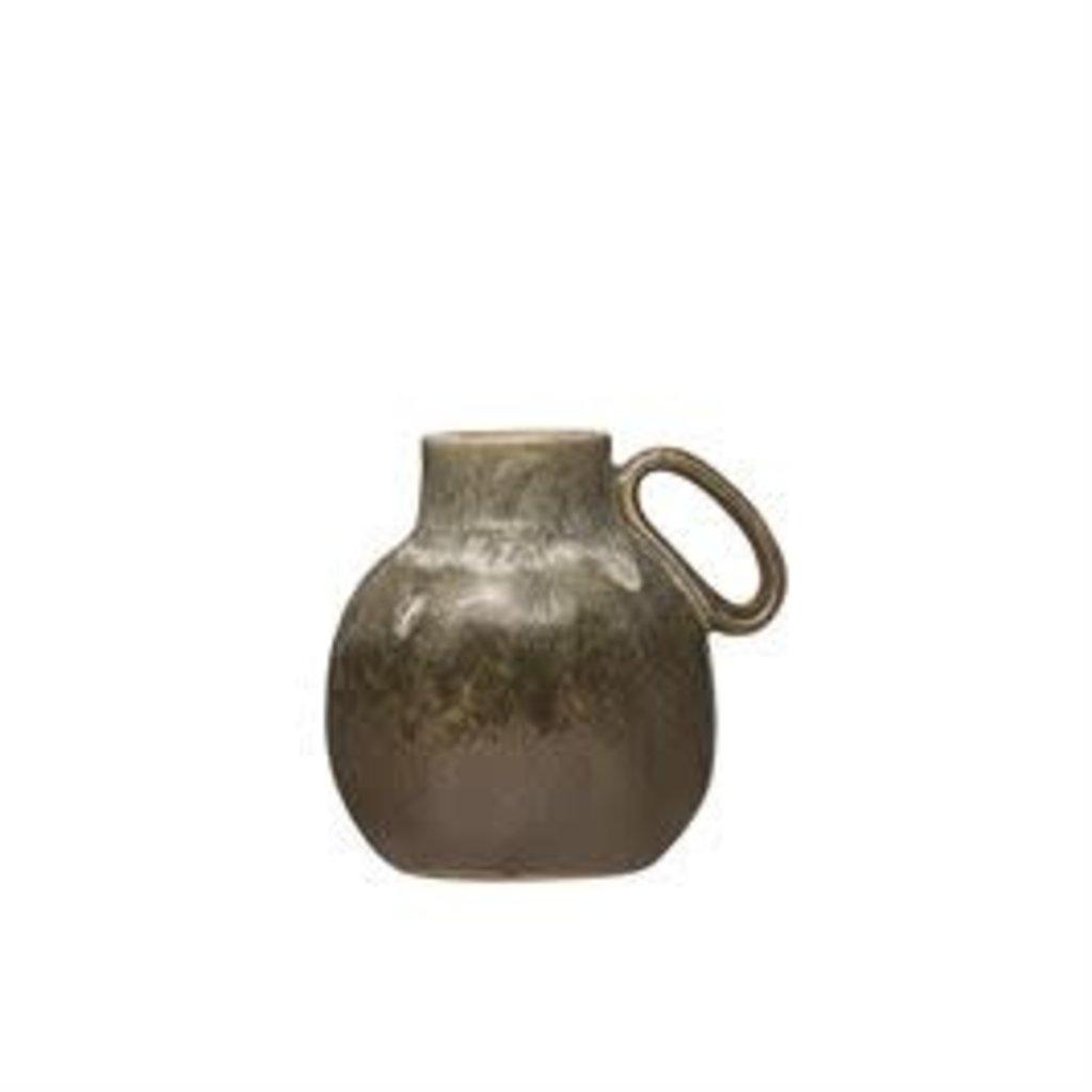 Bloomingville Stoneware Vase w/ Handle, Reactive Glaze, Green
