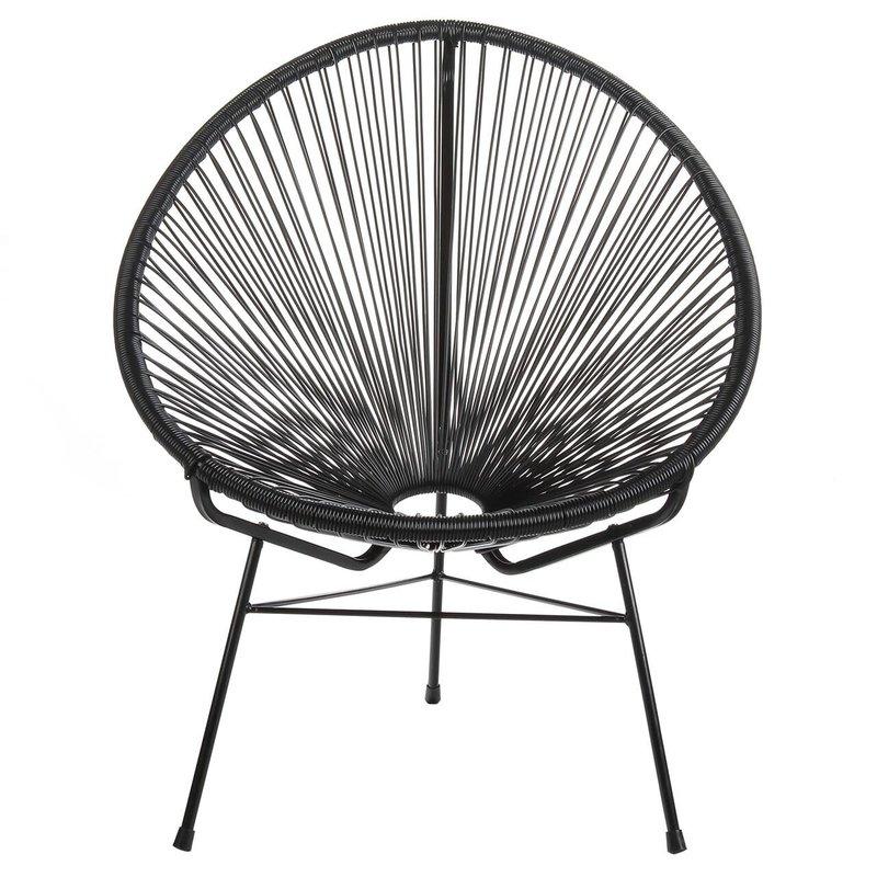 Joseph Allen Home Acapulco Chair Lounge, Black