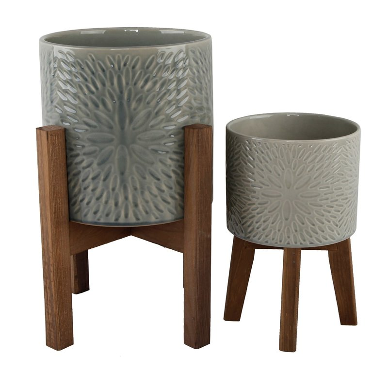 Faire Sunburst Ceramic Planter On Wood Stand - Small