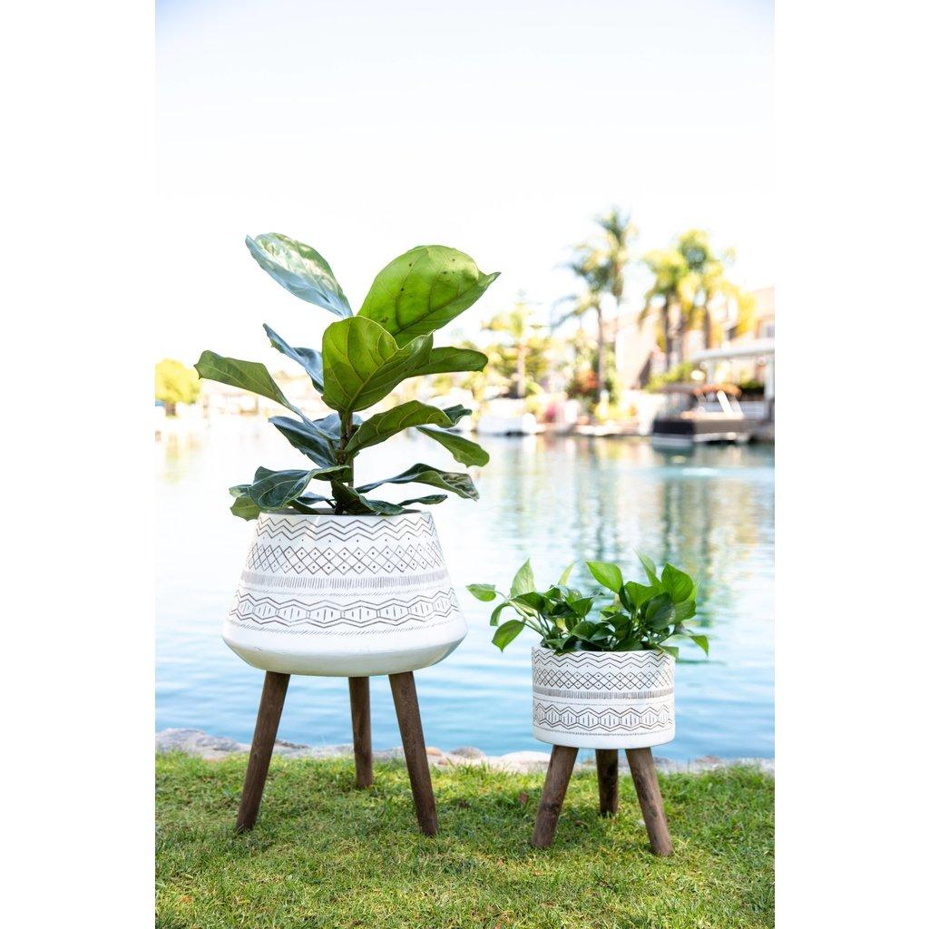 Faire Tribal Fiberglass Plant Pot on Wood Stand - Small