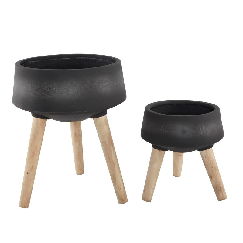 Faire Fiberglass Pot On Legs - Black - Small