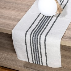 Old Lake George Gray and White Texture Farmhouse Striped Table Runner