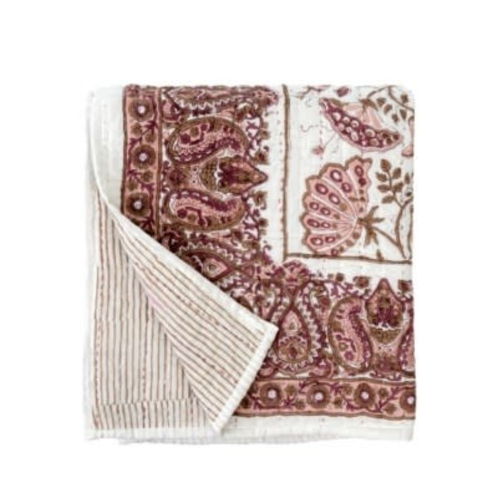 Indaba Blooming Quilted Throw, Burgundy