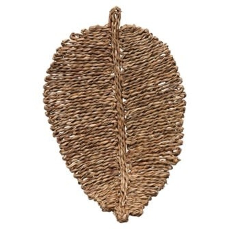 Creative Coop Woven Seagrass Leaf Shaped Placemat