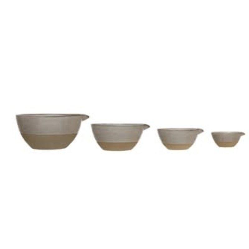 Creative Coop Stoneware Batter Bowls, Reactive Glaze, White, Set of 4