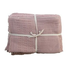 Creative Coop Cotton Stitched Bed Cover w/ 2 Stitched King Shams
