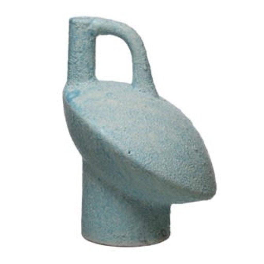 Terra-cotta Vase with Handle - Aqua