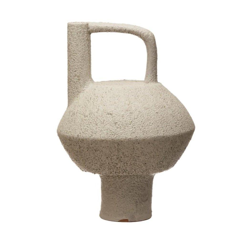 Creative Coop Terra-cotta Vase with Handle - White