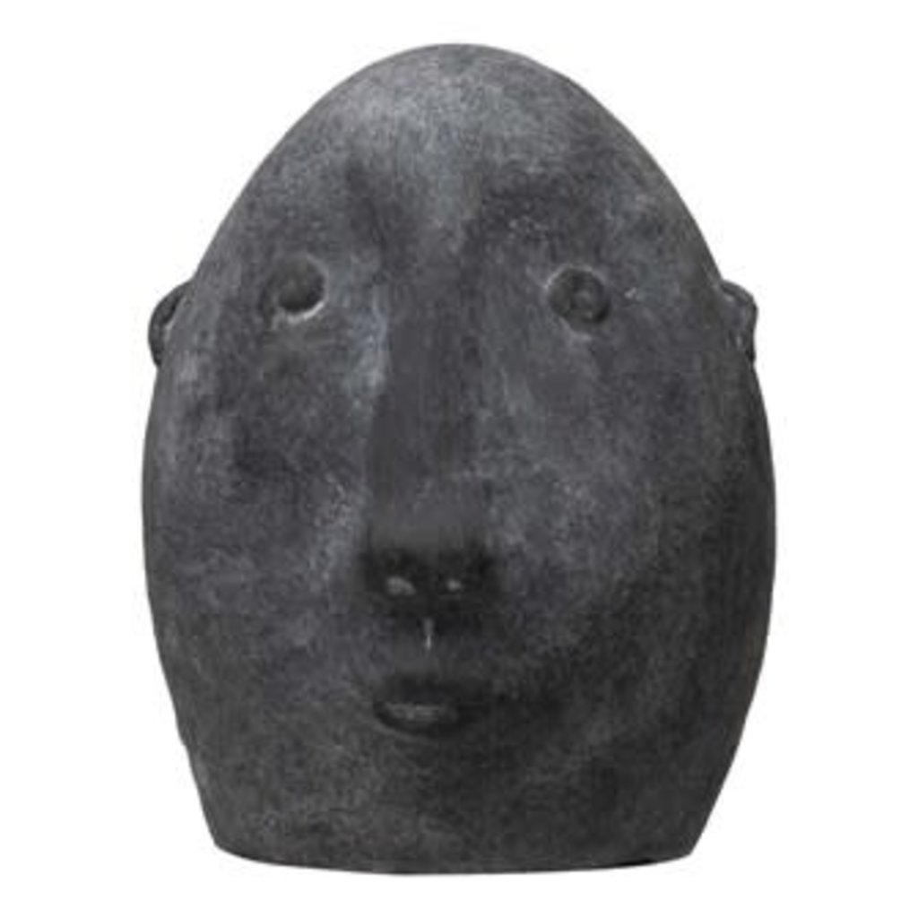 Terra-cotta Face - Distressed Matte Black Finish