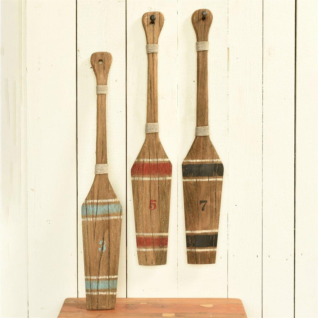 HomArt Kelso Wood Paddle - Natural Wood & Blue