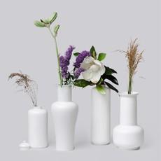Faire - Middle Kingdom Medium Semi-Matte White Vases   Sage