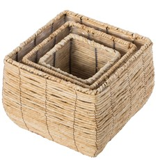 Quickway Imports Woven Square Flower Pot Planter with Plastic Lining - Medium