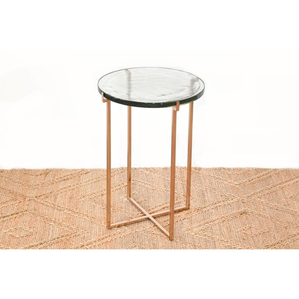 Faire - Anaya Home Glass Side Table with Rose Gold Metal Legs