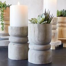 Santa Barbara Design Studio Medium Succulent Pillar - Grey Paulownia Wood