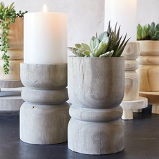 Santa Barbara Design Studio Large Succulent Pillar - Grey Paulownia Wood