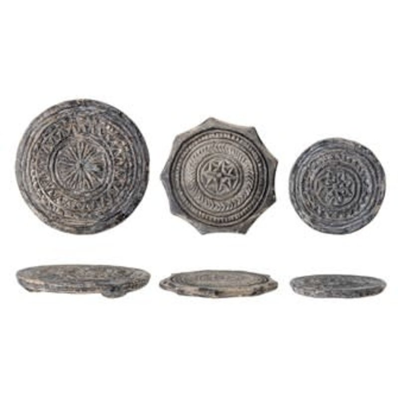 Creative Coop Round Found Carved Stone Biscuit Mould