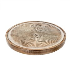 Indaba Brook Carved Tray, Round