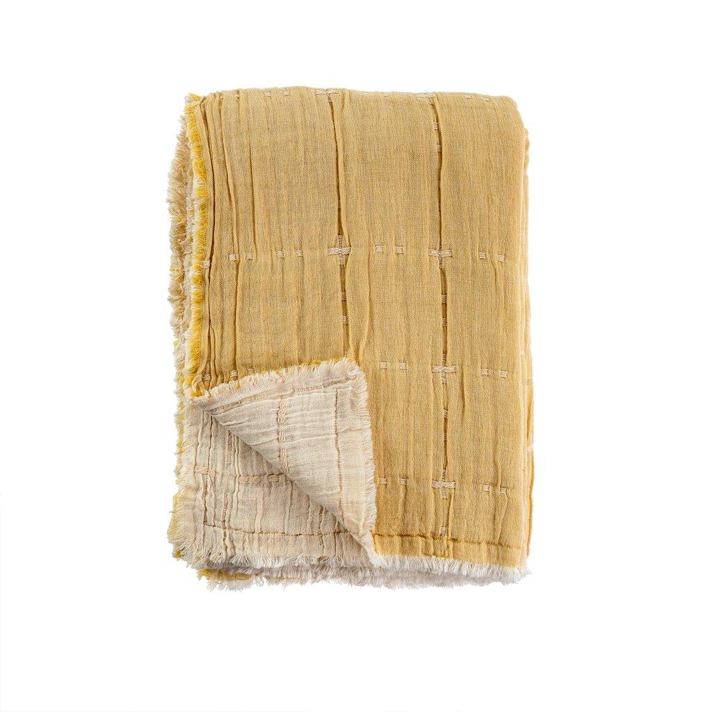 Indaba Maya Quilted Throw Wheat