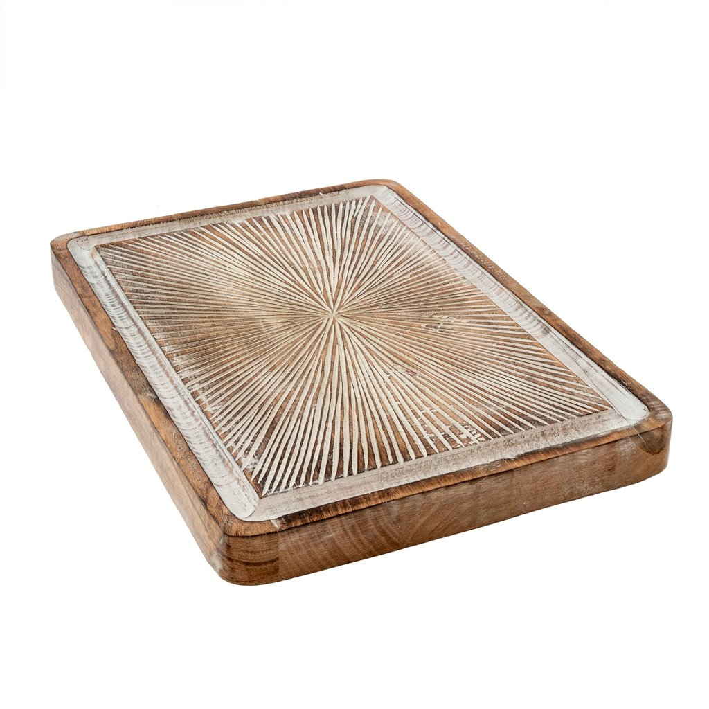 Indaba Brook Carved Tray, Rectangle