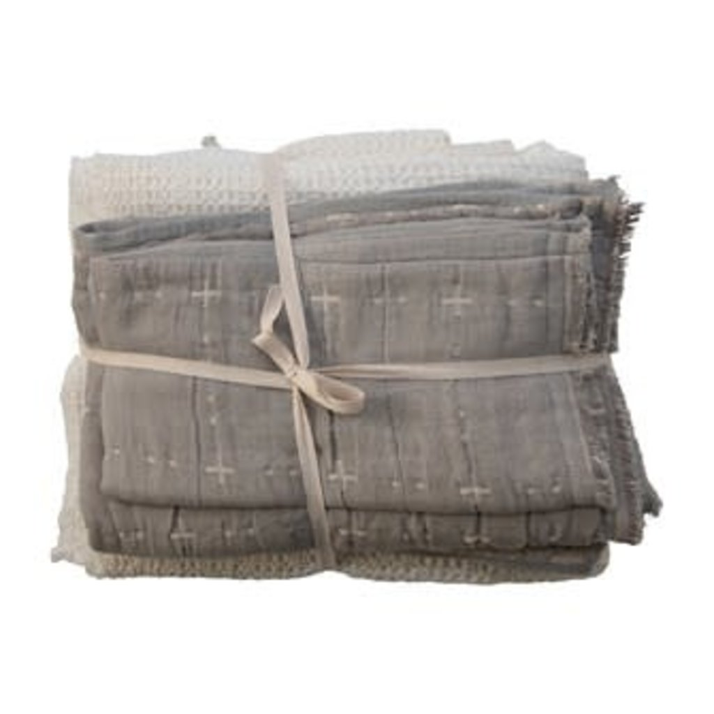Creative Coop Cotton Q Waffle Weave Bed Cover w/ 2 Stitched Shams