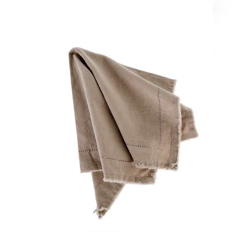 Indaba Frayed Edge Napkin Khaki Taupe