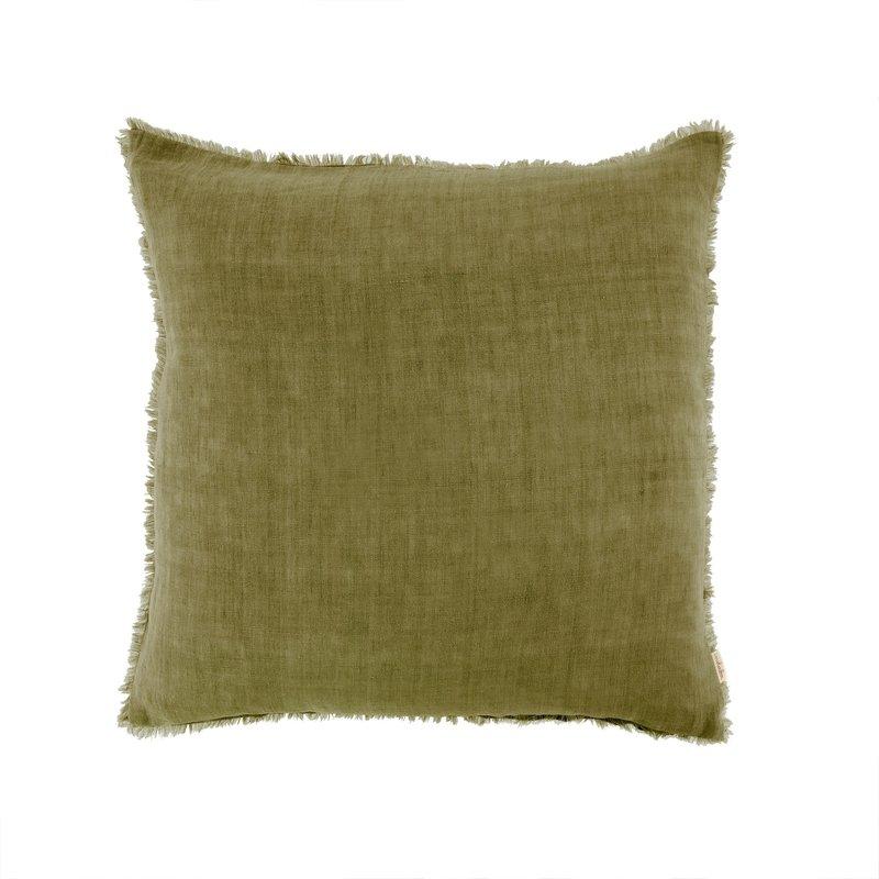 Indaba Lina Linen Pillow Dark Moss