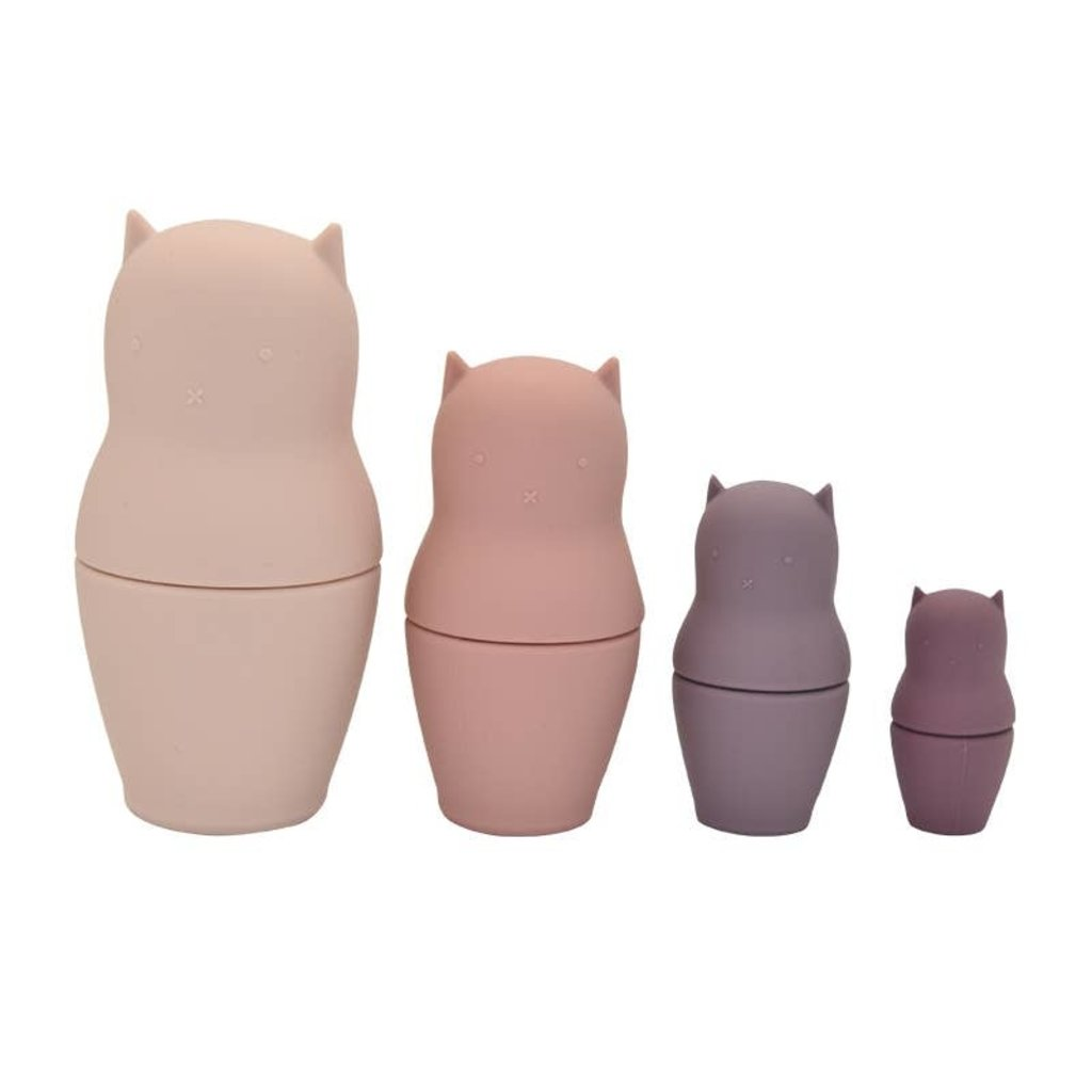 Faire - Little Teether Kitty Cat Nesting Dolls Silicone - Teether - Bath - Stacker