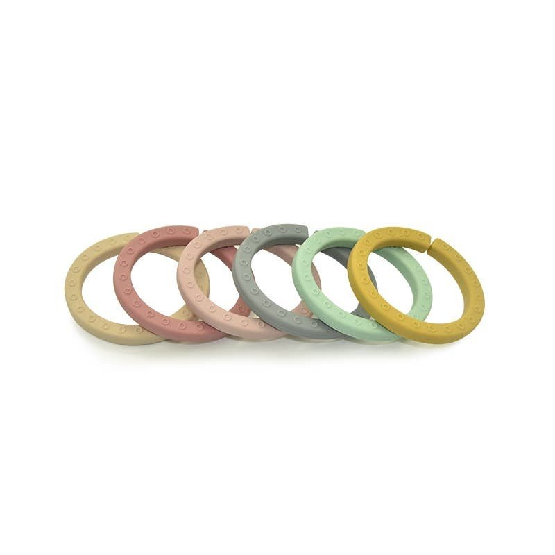 Faire - Little Teether Silicone Toy Link Rings - Teether - Bath - Stacker