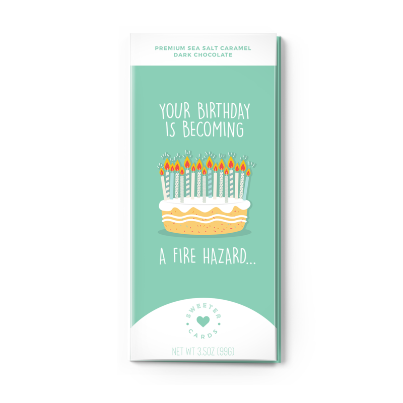 Faire - Sweeter Cards Happy Birthday Chocolate Bar Card - You're a Fire Hazard