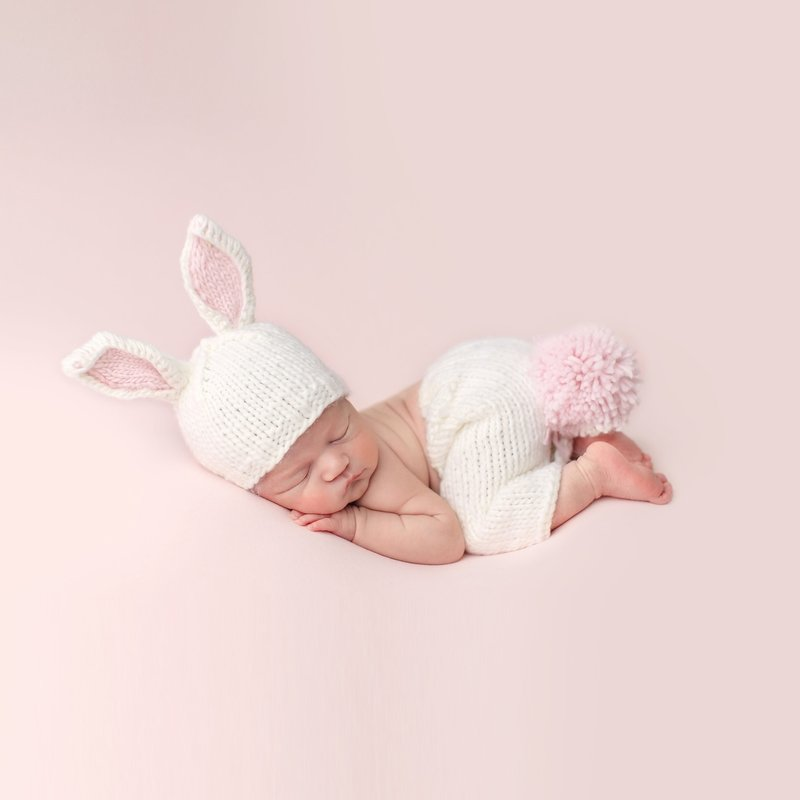 Faire - The Blueberry Hill Bailey Bunny Set | Hand Knit Newborn Baby Outfit