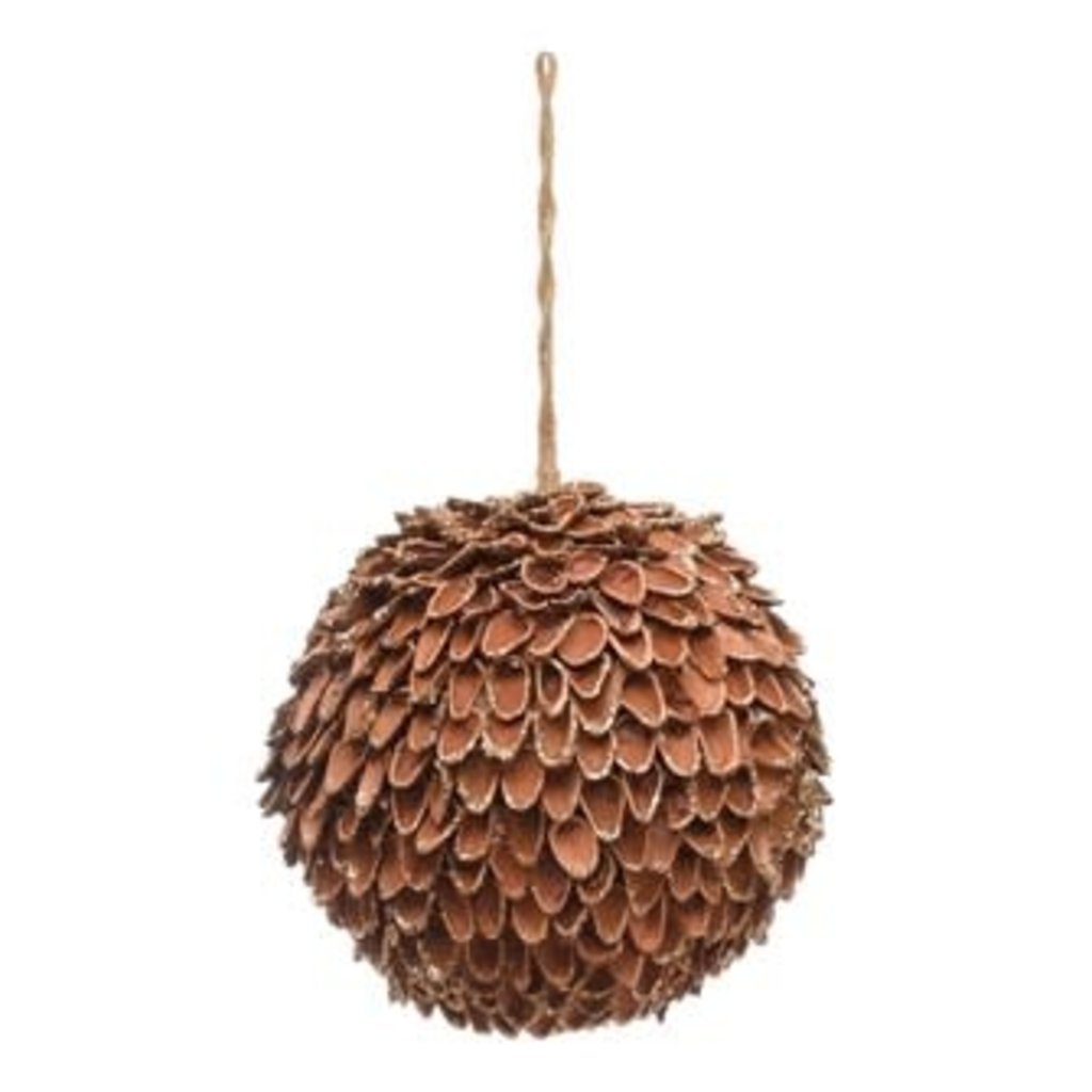"""Creative Coop 4-1/2"""" ROUND PINECONE BALL ORNAMENT W/ GOLD GLITTER TIPS, NATURAL"""