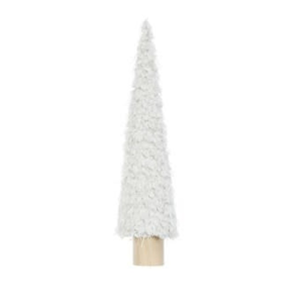 """Creative Coop 4-1/4"""" ROUND X 19""""H FABRIC CONE TREE ON WOOD BASE, CREAM COLOR"""