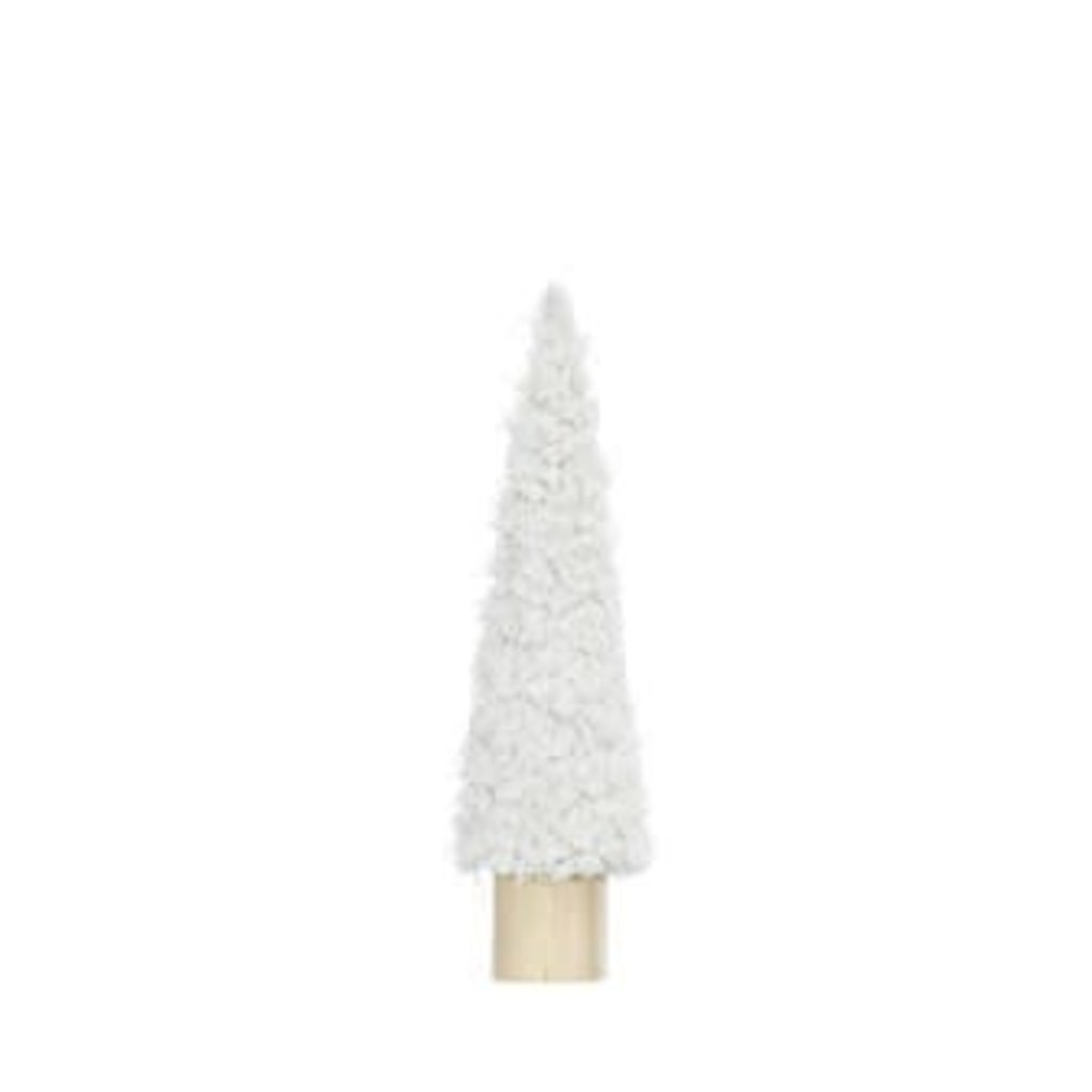 """Creative Coop 3-1/2"""" ROUND X 14""""H FABRIC CONE TREE ON WOOD BASE, CREAM COLOR"""