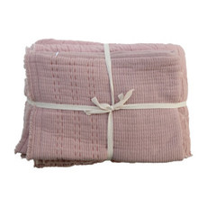 """Creative Coop 90""""L X 90""""W COTTON STITCHED BED COVER W/ 2 STITCHED STANDARD SHAMS, QUEEN, DESERT ROSE, SET OF 3"""