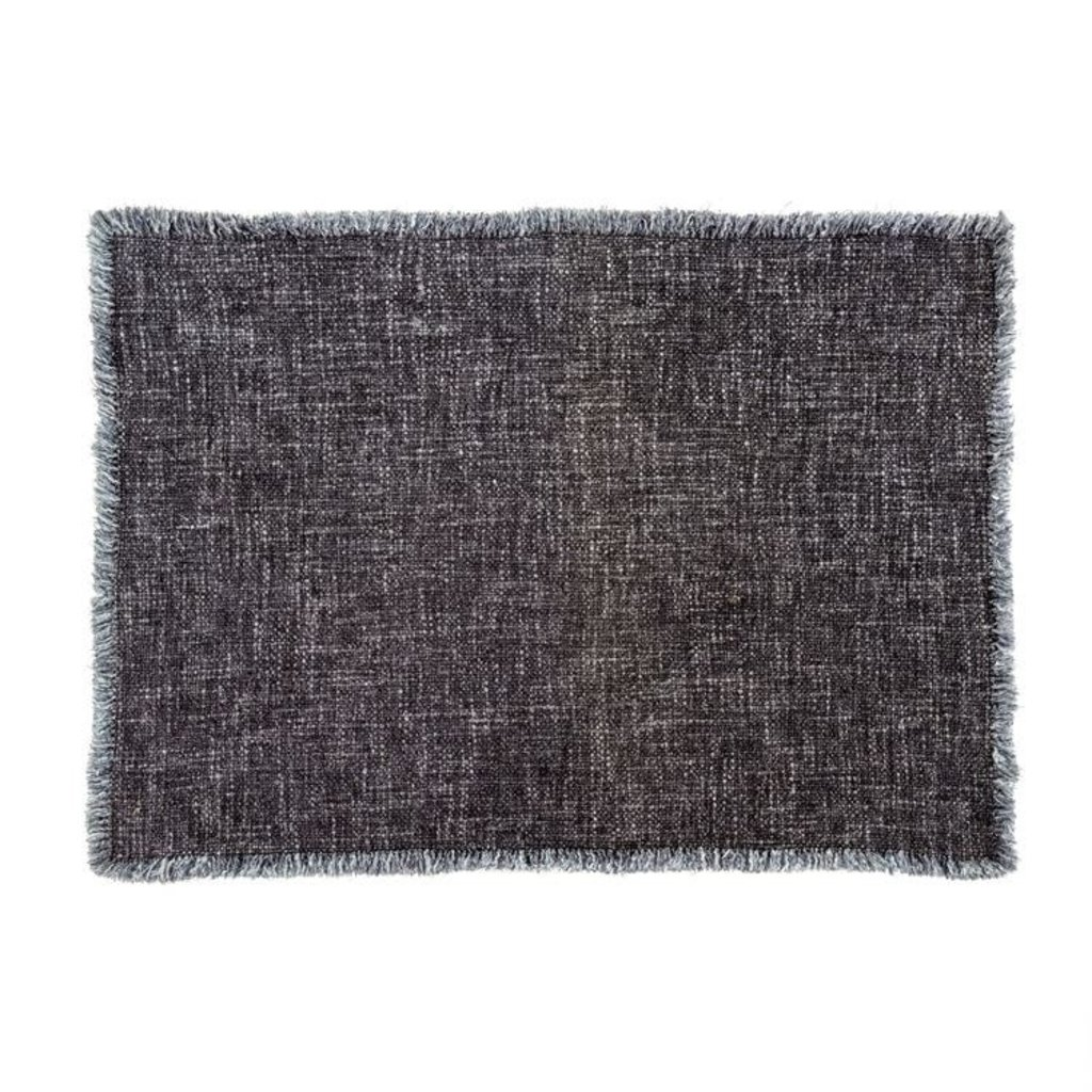 Indaba Selena Linen Placemat, Charcoal