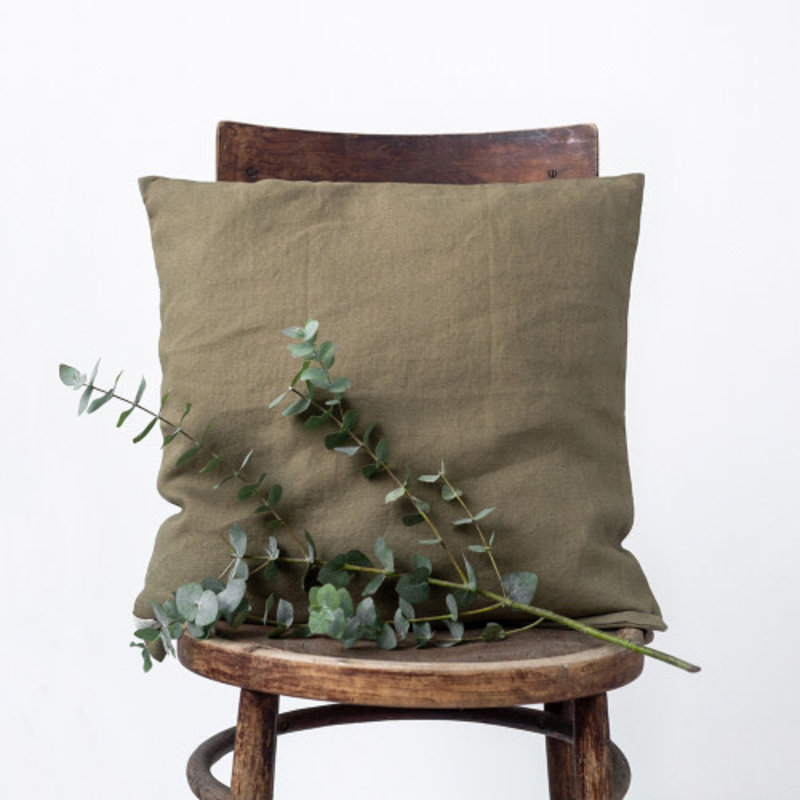 Linen Tales MARTINI OLIVE CUSHION COVER