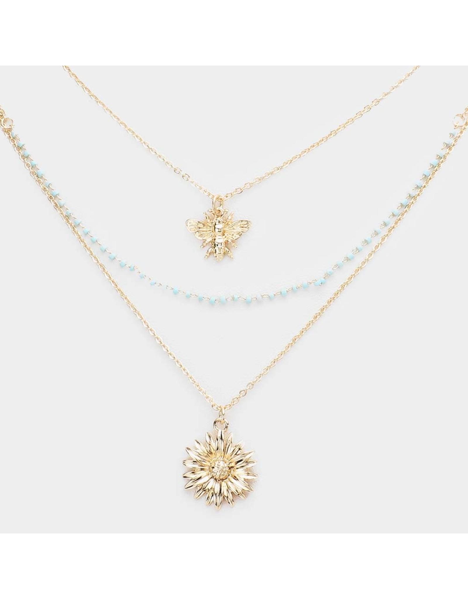 Triple Layered Honeybee Flower Necklace