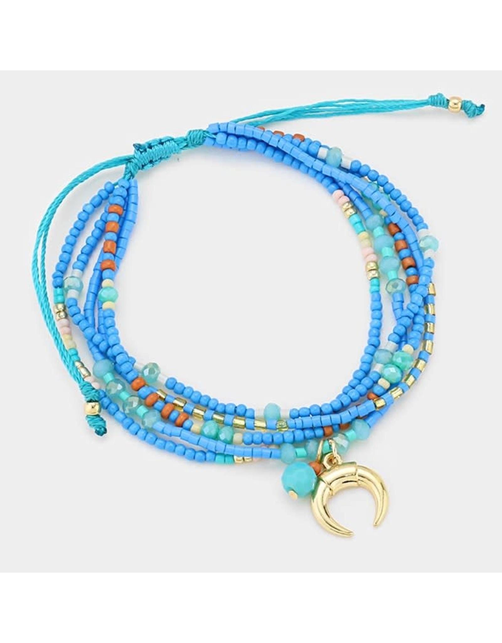 Double Horn Multi-Strand Boho Bead Cinch Bracelet
